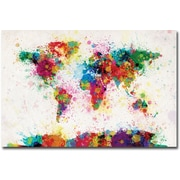 "Trademark Global Michael Tompsett ""Paint Splashes World Map"" Canvas Art, 30"" x 47"""