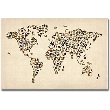 Trademark Global Michael Tompsett in.World Map of Catsin. Canvas Art, 22in. x 32in.