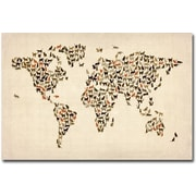 "Trademark Global Michael Tompsett ""World Map of Cats"" Canvas Art, 16"" x 24"""