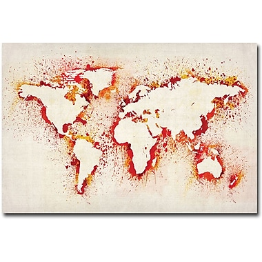 Trademark Global Michael Tompsett in.Paint Outline World Mapin. Canvas Art, 16in. x 24in.
