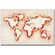 "Trademark Global Michael Tompsett ""Paint Outline World Map"" Canvas Art, 16"" x 24"""