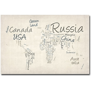 Trademark Global Michael Tompsett in.Typography World Mapin. Canvas Art, 22in. x 32in.