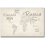 Trademark Global Michael Tompsett Typography World Map Canvas Art, 16 x 24