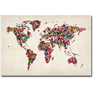 Trademark Global Michael Tompsett in.Butterflies World Mapin. Canvas Art, 16in. x 24in.