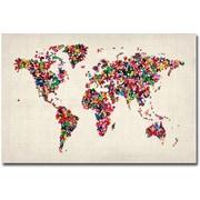 """Trademark Global Michael Tompsett """"Butterflies World Map"""" Canvas Art, 30"""" x 47"""""""