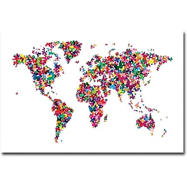 Trademark Global Michael Tompsett in.Butterflies World Map IIin. Canvas Art, 16in. x 24in.