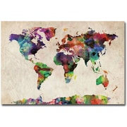 "Trademark Global Michael Tompsett ""Urban Watercolor World Map"" Canvas Art, 30"" x 47"""