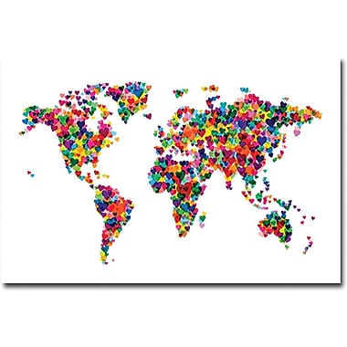 Trademark Global Michael Tompsett in.Love & Hearts World Mapin. Canvas Art, 16in. x 24in.
