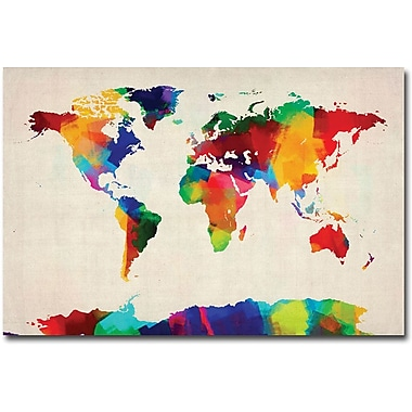 Trademark Global Michael Tompsett in.Sponge Painting World Mapin. Canvas Art, 22in. x 32in.