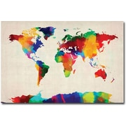 "Trademark Global Michael Tompsett ""Sponge Painting World Map"" Canvas Art, 16"" x 24"""