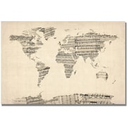 "Trademark Global Michael Tompsett ""Old Sheet Music World Map"" Canvas Art, 16"" x 24"""