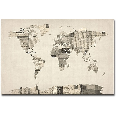 Trademark Global Michael Tompsett in.Vintage Postcard World Mapin. Canvas Art, 16in. x 24in.