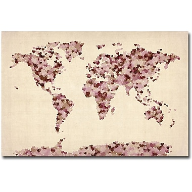 Trademark Global Michael Tompsett in.Vintage Hearts World Mapin. Canvas Arts