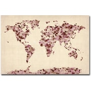 "Trademark Global Michael Tompsett ""Vintage Hearts World Map"" Canvas Art, 16"" x 24"""