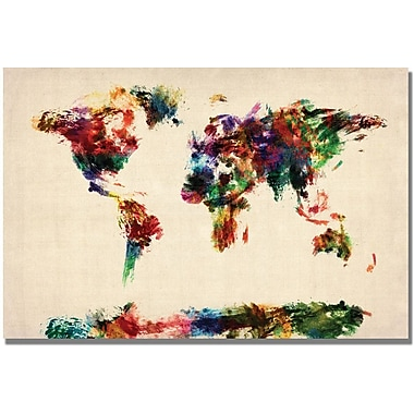 Trademark Global Michael Tompsett in.Abstract Painting World Mapin. Canvas Art, 16in. x 24in.