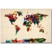 "Trademark Global Michael Tompsett ""Abstract Painting World Map"" Canvas Art, 16"" x 24"""