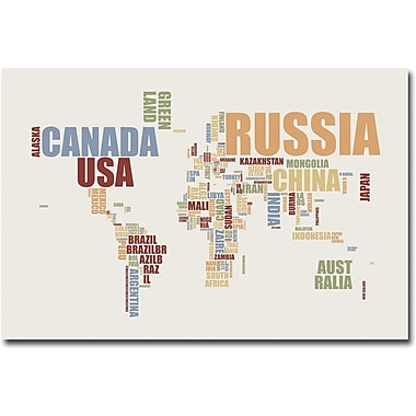 Trademark Global Michael Tompsett in.World Text Mapin. Canvas Art, 22in. x 32in.