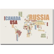 "Trademark Global Michael Tompsett ""World Text Map"" Canvas Art, 30"" x 47"""