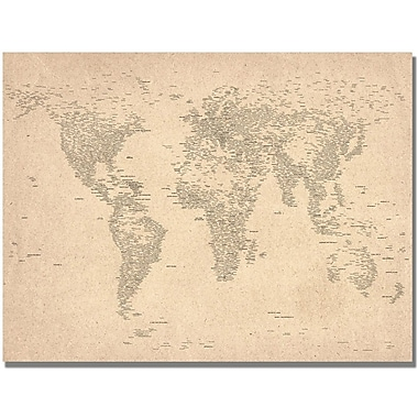 Trademark Global Michael Tompsett in.World Map of Citiesin. Canvas Arts