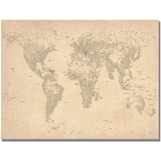 "Trademark Global Michael Tompsett ""World Map of Cities"" Canvas Arts"