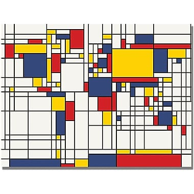 Trademark Global Michael Tompsett in.Mondrian World Mapin. Canvas Art, 30in. x 47in.
