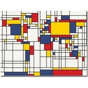 "Trademark Global Michael Tompsett ""Mondrian World Map"" Canvas Art, 22"" x 32"""