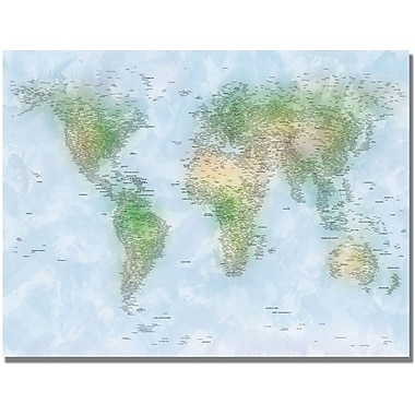 Trademark Global Michael Tompsett in.Watercolor Cities World Mapin. Canvas Art, 30in. x 47in.