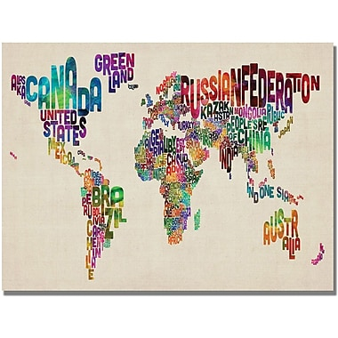 Trademark Global Michael Tompsett in.Typography World Map IIin. Canvas Art, 30in. x 47in.