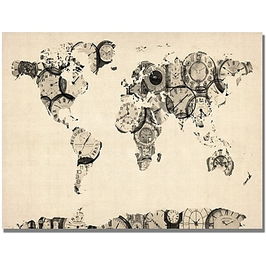 Trademark Global Michael Tompsett in.Old Clocks World Mapin. Canvas Art, 22in. x 32in.