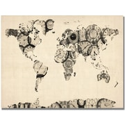 "Trademark Global Michael Tompsett ""Old Clocks World Map"" Canvas Art, 22"" x 32"""
