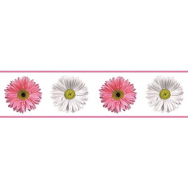 RoomMates® Flower Power Peel and Stick Border, Pink, Red, Rose, White, 180in. L x 5in. W