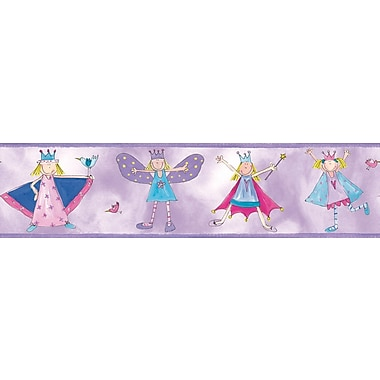 RoomMates® Fairy Princess Peel & Stick Border-Fuchsia,Light Gray,Light Purple,Light Violet,180in.Lx5in.W