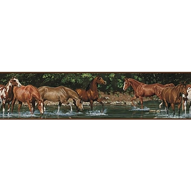 RoomMates® Wild Horses Peel and Stick Border, Brown, Green, 180