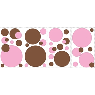 RoomMates® Just Dots Pink/Brown Peel and Stick Wall Decal, 10in. x 18in.
