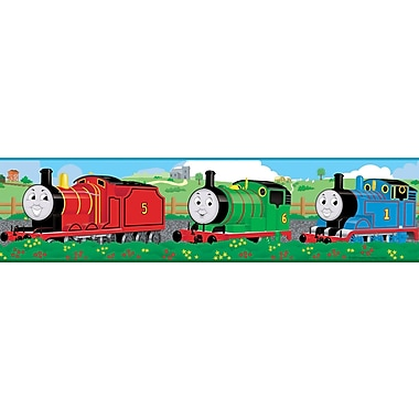RoomMates® Thomas and Friends Peel & Stick Border-Black,Blue,Green,Lime,Pink,Red,Teal Blue, 180in.x5in.