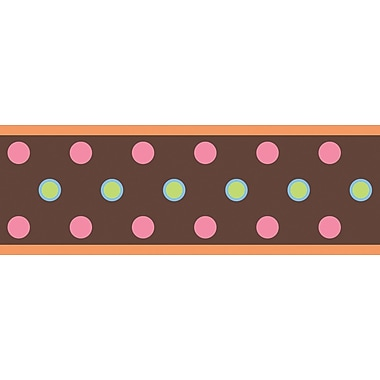 RoomMates® Polka Dot Peel and Stick Border, Brown, 180in. L x 5in. H