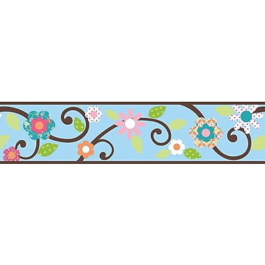 RoomMates® Dena Floral Scroll Peel and Stick Border, Blue, 180in. L x 4 1/2in. H
