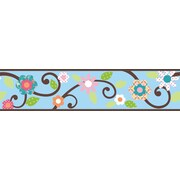 "RoomMates® Dena Floral Scroll Peel and Stick Border, Blue, 180"" L x 4 1/2"" H"