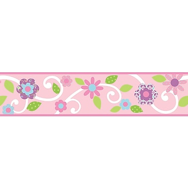 RoomMates® Dena Floral Scroll Peel and Stick Border, Pink, 180in. L x 4 1/2in. H