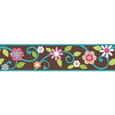 RoomMates® Dena Floral Scroll Peel and Stick Border, Brown, 180in. L x 4 1/2in. H