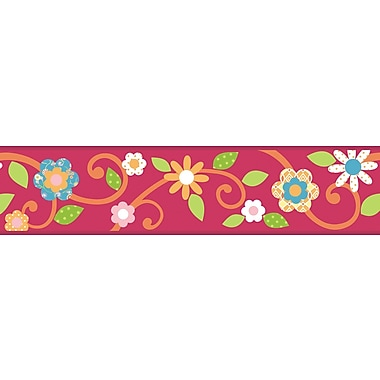 RoomMates® Dena Floral Scroll Peel and Stick Border, Magenta, 180in. L x 4 1/2in. H