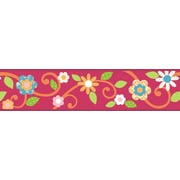 "RoomMates® Dena Floral Scroll Peel and Stick Border, Magenta, 180"" L x 4 1/2"" H"