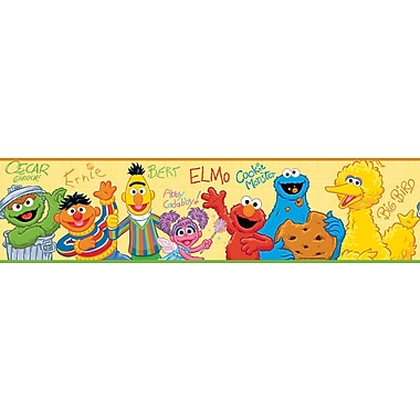 RoomMates® Sesame Street Peel and Stick Border, Yellow, Blue, Red, 180in. L x 5in. H