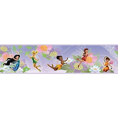 RoomMates® Disney Fairies Peel and Stick Border, Purple, White , 180in. L x 5in. H