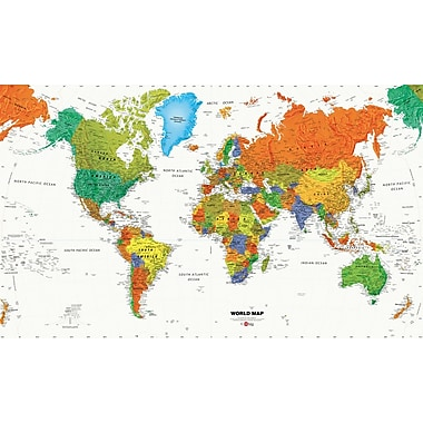 RoomMates® World Map Chair Rail Prepasted Wall Mural, 6 ft H x 10 1/2 ft W
