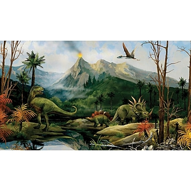 RoomMates® Dinosaur Chair Rail Prepasted Wall Mural, 6 ft H x 10 1/2 ft W
