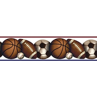 RoomMates® Play Ball Peel and Stick Border, Black, Dark Gray, Medium Gray, Orange, Pink, 5in. Hx180in.