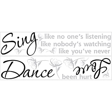 RoomMates® Dance, Sing, Love Quote Peel and Stick Wall Decal, 10