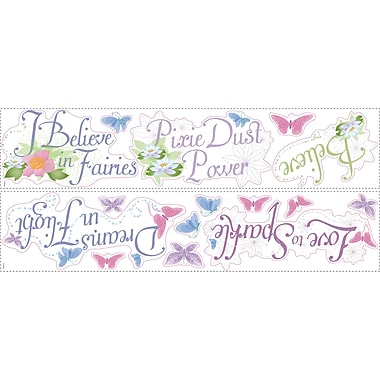 RoomMates® Disney Fairies Phrases Peel and Stick Wall Decal with Glitter, 9in. x 40in.