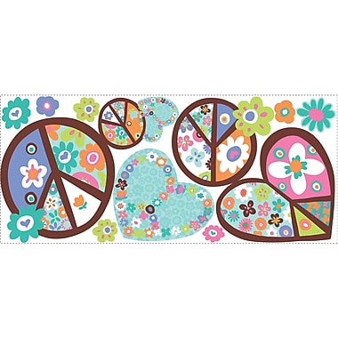 RoomMates® Hearts and Peace Signs Peel and Stick Giant Wall Decal, 18in. x 40in.